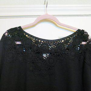 Crochet neckline 3/4 sleeve sweater
